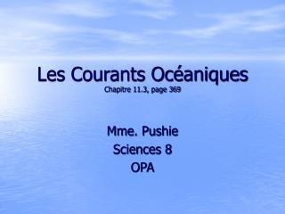 Les Courants Océaniques Chapitre 11.3, page 369