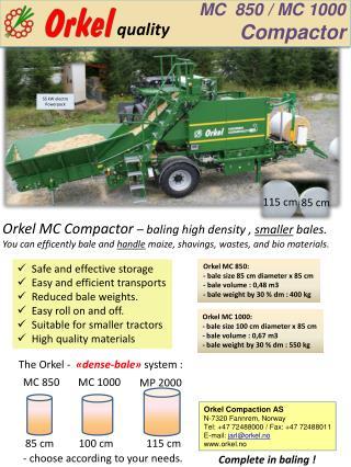 MC  850 / MC  1000 Compactor