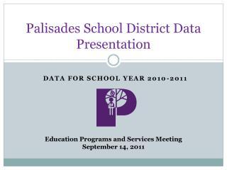 Palisades School District Data Presentation