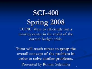 SCI-400 Spring 2008