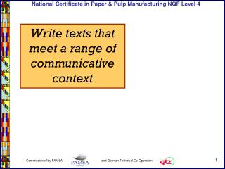 Write texts that meet a range of communicative context
