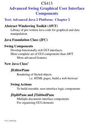 CS413 Advanced Swing Graphical User Interface Components