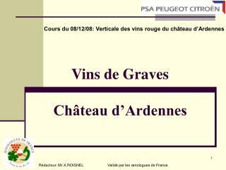 Vins de Graves   Ch�teau d�Ardennes