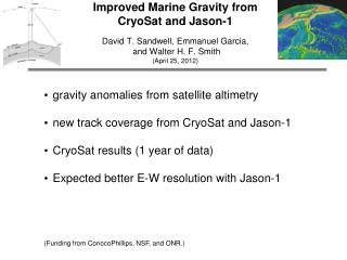 gravity anomalies from satellite altimetry new track coverage from  CryoSat  and Jason-1