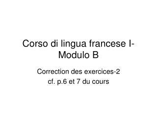Corso di lingua francese I- Modulo B