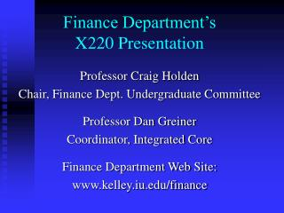 Finance Department's X220 Presentation
