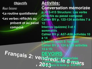 Français  2:  vendredi , le 8 mars , 2013