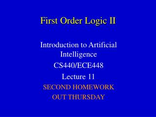 First Order Logic II