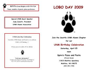 Join the Seattle UNM Alumni Chapter for our  UNM Birthday Celebration Saturday, April 25 noon