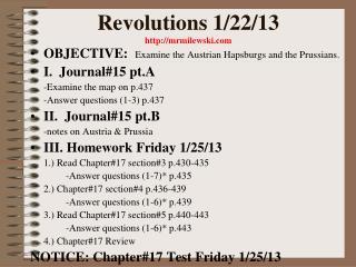 Revolutions 1/22/13 mrmilewski