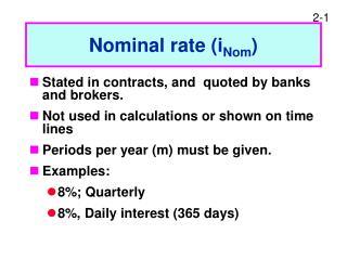 Nominal rate (i Nom )