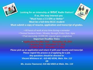 WBJC Internship Fall 2014