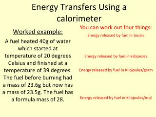 Energy Transfers Using a calorimeter