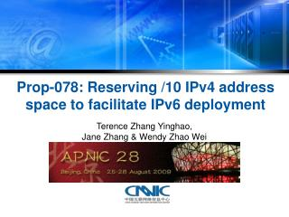 Prop-078: Reserving /10 IPv4 address space to facilitate IPv6 deployment