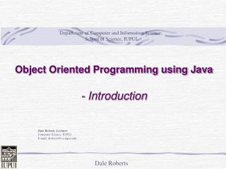 Object Oriented Programming using Java  - Introduction