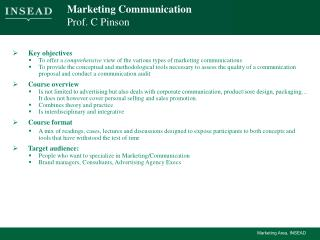Marketing Communication Prof. C Pinson