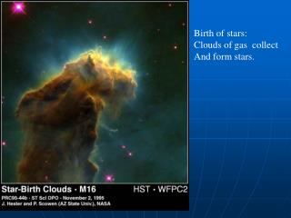Birth of stars: Clouds of gas  collect And form stars.