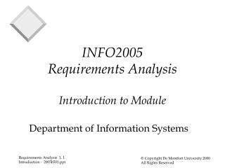 INFO2005 Requirements Analysis Introduction to Module