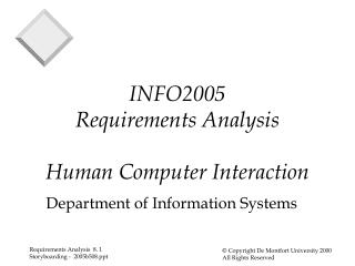 INFO2005 Requirements Analysis Human Computer Interaction