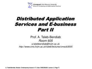 Distributed Application Services and E-business  Part II