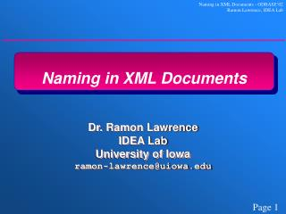 Naming in XML Documents