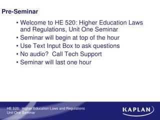 Pre-Seminar