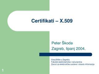 Certifikati � X.509