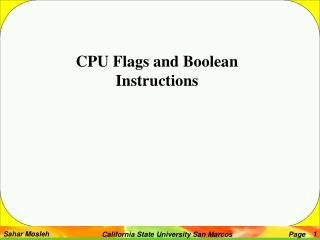 CPU Flags and Boolean Instructions