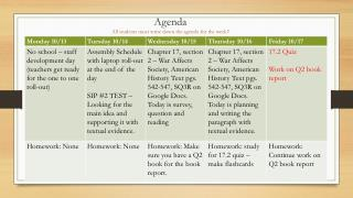 Agenda All students must write down the agenda for the week!!