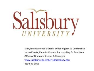 Maryland Governor's Grants Office Higher Ed Conference