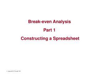 Break-even Analysis   Part 1   Constructing a Spreadsheet
