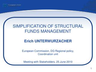SIMPLIFICATION OF STRUCTURAL FUNDS MANAGEMENT