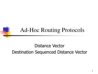 Ad-Hoc Routing Protocols