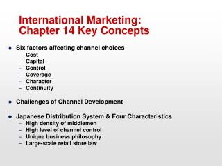 International Marketing: Chapter 14 Key Concepts