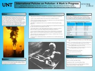 International Policies on Pollution: A Work in Progress