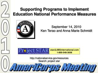 Supporting Programs to Implement Education National Performance Measures