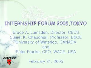 INTERNSHIP FORUM 2005,TOKYO