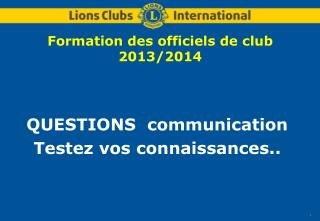 Formation des officiels de club 2013/2014