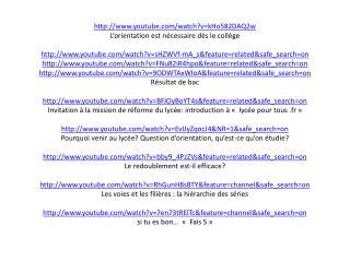 le lycee est pour tous des sites sur youtube