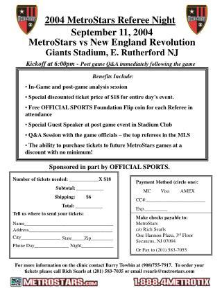 2004 MetroStars Referee Night