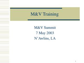 M&V Training
