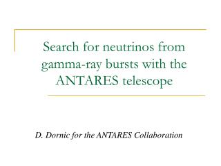 Search for neutrinos from gamma-ray bursts with the ANTARES telescope