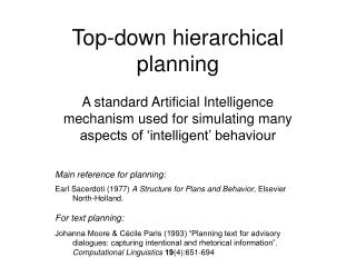 Top-down hierarchical planning