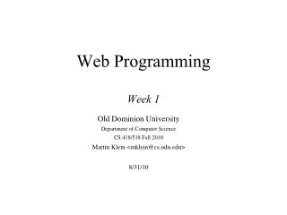 Web Programming Week 1