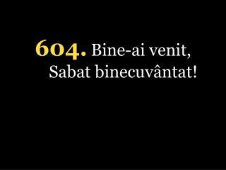 604. Bine-ai venit, Sabat binecuvântat!