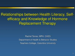 Rachel Torres, MPH, CHES Department of Health & Behavior Studies