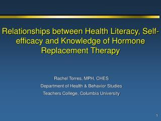 Rachel Torres, MPH, CHES Department of Health & Behavior Studies