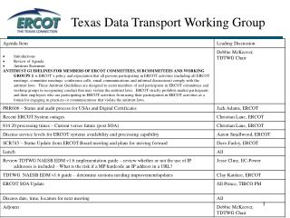 Texas Data Transport Working Group