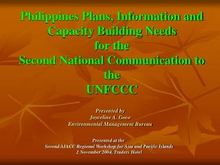 Philippines Plans, Information and Capacity Building Needs  for the