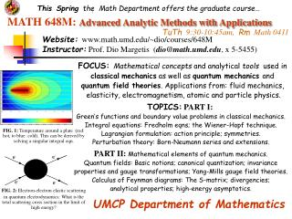 MATH 648M:  Advanced Analytic Methods with Applications